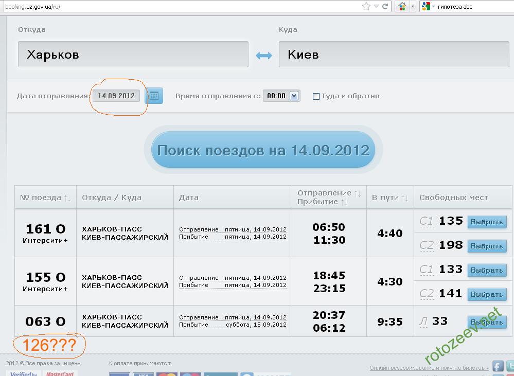 Наличие билетов от Харькова на 126 поезд Луганск-Киев