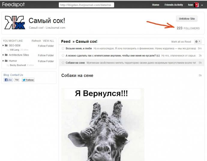 feedspot - просмотр подробностей (число подписчиков) по ленте одного сайта ibigdan.livejournal.com