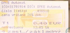 Билет на проезд в городском транспорте, Кошице