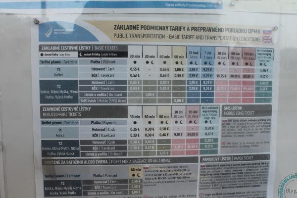 Сколько стоит проезд в городском транспорте, Кошице, Словакия