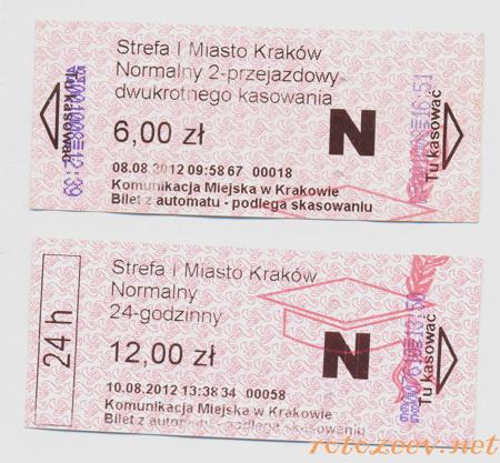 Трамвайные билеты в Кракове