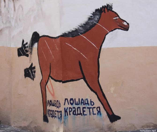 Лошадь крадется